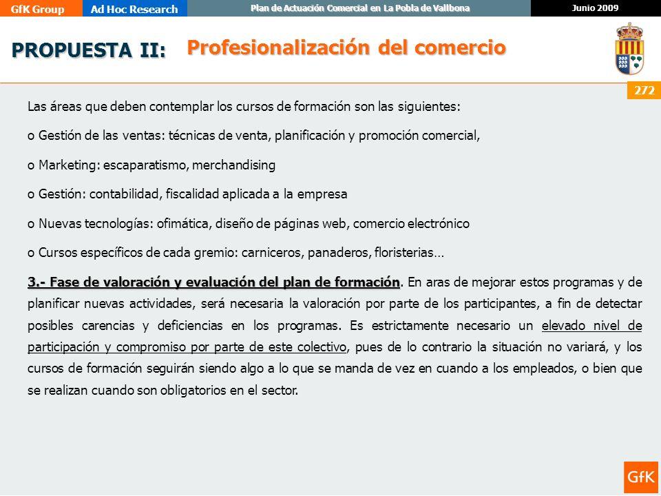 GfK GroupAd Hoc Research Junio 2009 Plan de Actuación Comercial en La Pobla de Vallbona 272 PROPUESTA II: PROPUESTA II: Las áreas que deben contemplar