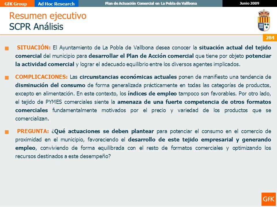 GfK GroupAd Hoc Research Junio 2009 Plan de Actuación Comercial en La Pobla de Vallbona 284 Resumen ejecutivo SCPR Análisis SITUACIÓN: El Ayuntamiento