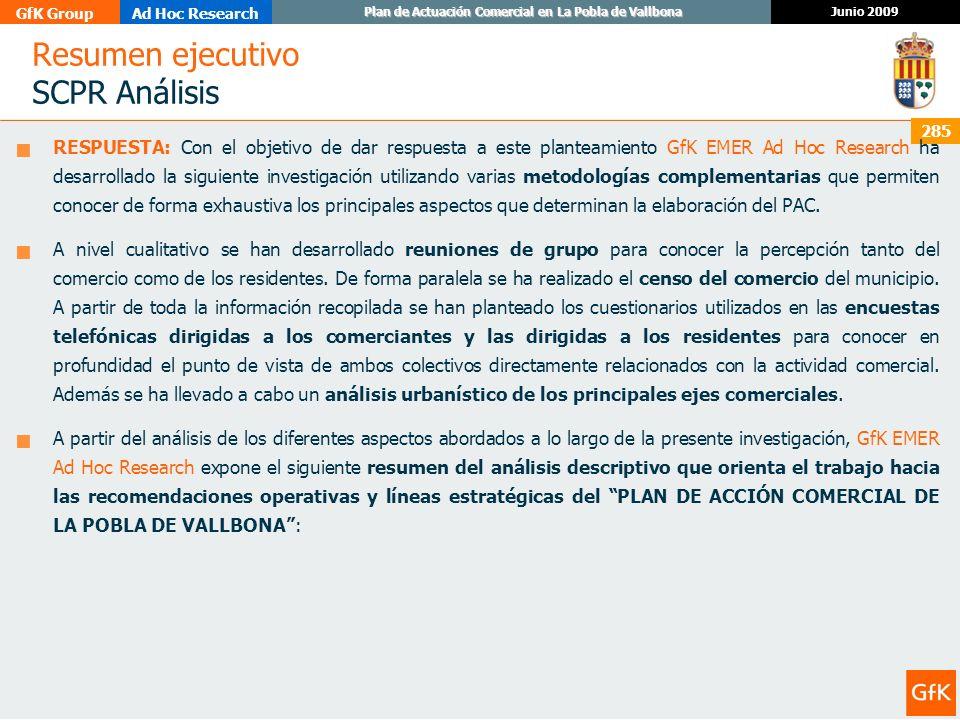 GfK GroupAd Hoc Research Junio 2009 Plan de Actuación Comercial en La Pobla de Vallbona 285 Resumen ejecutivo SCPR Análisis RESPUESTA: Con el objetivo