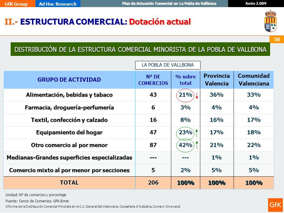 GfK GroupAd Hoc Research Junio 2.009 Plan de Actuación Comercial en La Pobla de Vallbona 58 DISTRIBUCIÓN DE LA ESTRUCTURA COMERCIAL MINORISTA DE LA PO