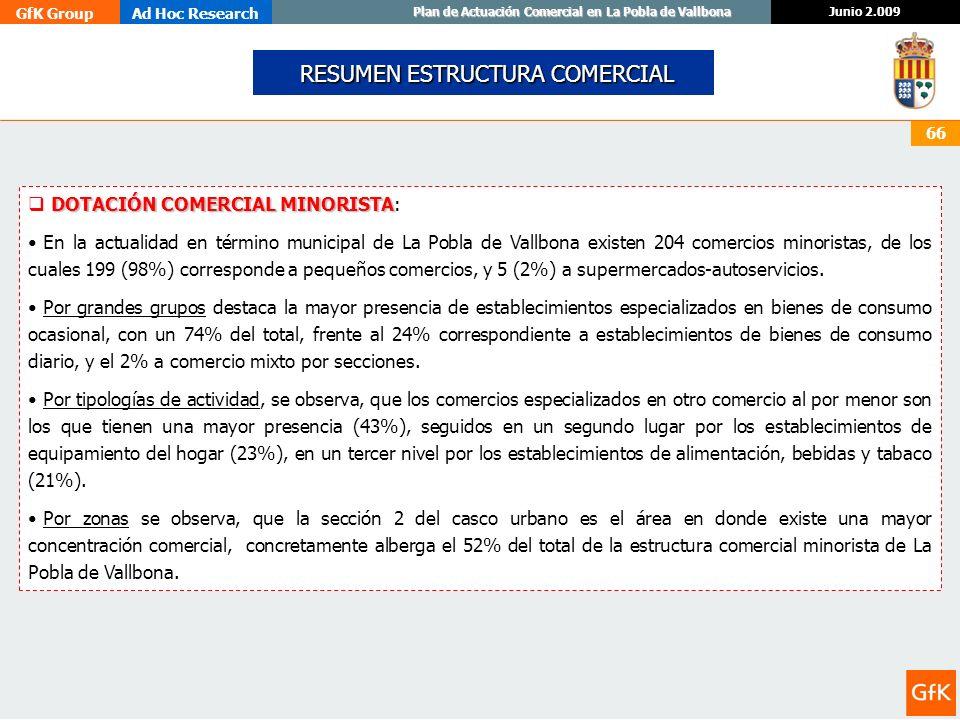 GfK GroupAd Hoc Research Junio 2.009 Plan de Actuación Comercial en La Pobla de Vallbona 66 RESUMEN ESTRUCTURA COMERCIAL RESUMEN ESTRUCTURA COMERCIAL