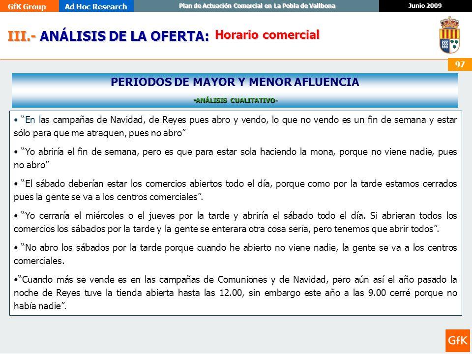 GfK GroupAd Hoc Research Junio 2009 Plan de Actuación Comercial en La Pobla de Vallbona 97 III.- ANÁLISIS DE LA OFERTA: III.- ANÁLISIS DE LA OFERTA: H