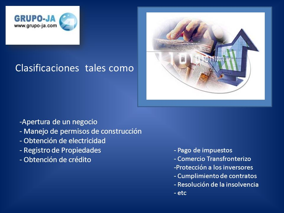 -Apertura de un negocio - Manejo de permisos de construcción - Obtención de electricidad - Registro de Propiedades - Obtención de crédito - Pago de impuestos - Comercio Transfronterizo -Protección a los inversores - Cumplimiento de contratos - Resolución de la insolvencia - etc Clasificaciones tales como