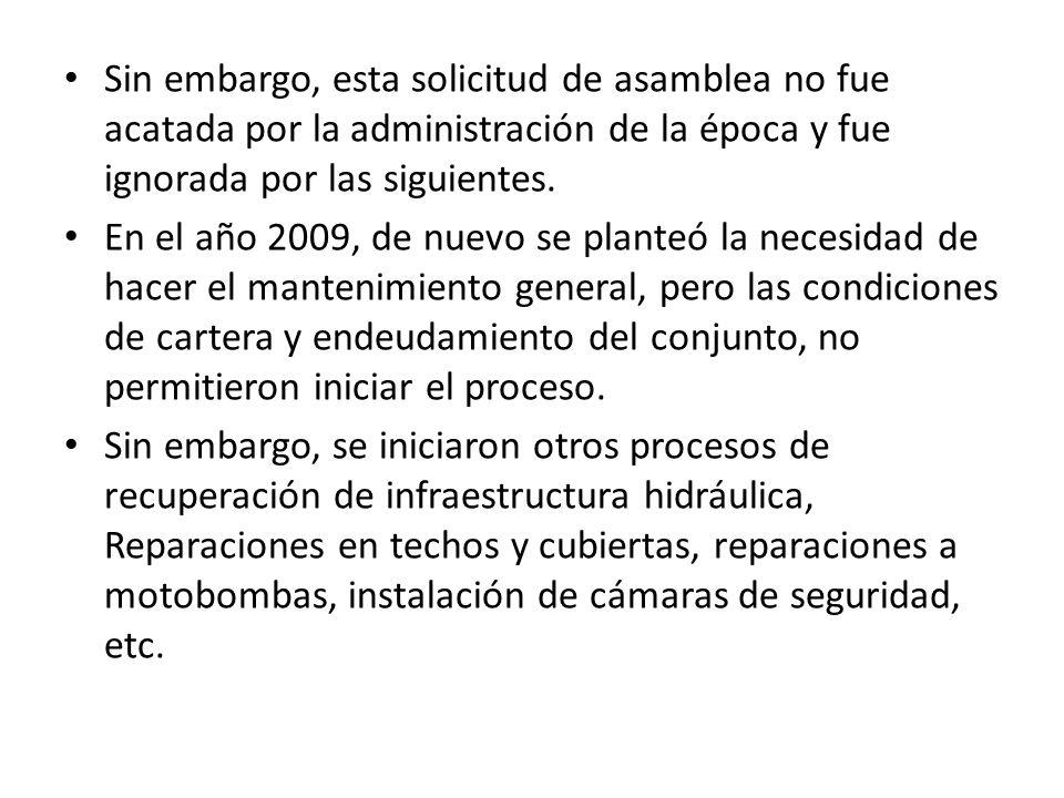 Sin embargo, esta solicitud de asamblea no fue acatada por la administración de la época y fue ignorada por las siguientes. En el año 2009, de nuevo s