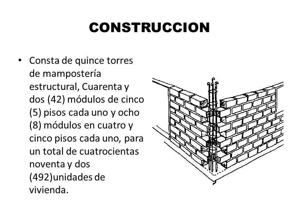 CONSTRUCCION Consta de quince torres de mampostería estructural, Cuarenta y dos (42) módulos de cinco (5) pisos cada uno y ocho (8) módulos en cuatro