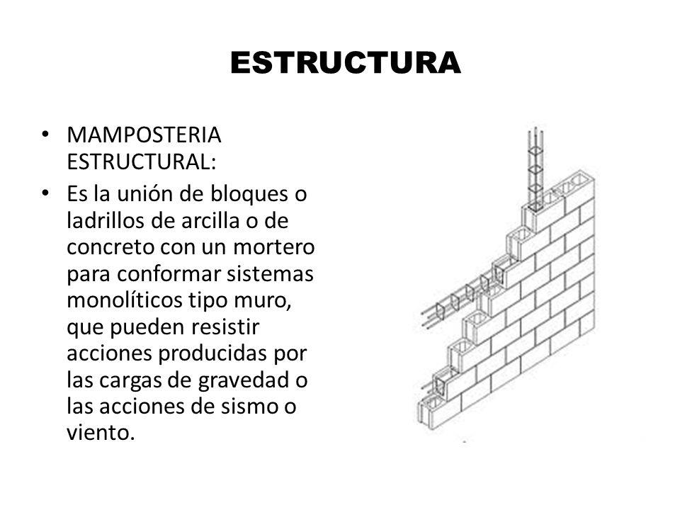 ESTRUCTURA MAMPOSTERIA ESTRUCTURAL: Es la unión de bloques o ladrillos de arcilla o de concreto con un mortero para conformar sistemas monolíticos tip