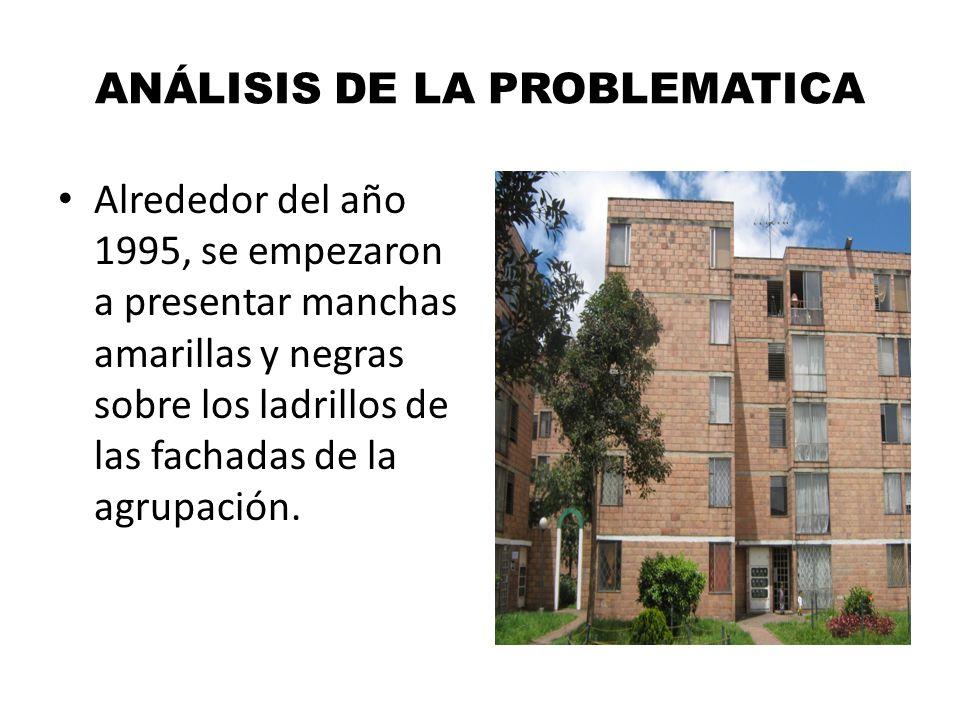 ANÁLISIS DE LA PROBLEMATICA Alrededor del año 1995, se empezaron a presentar manchas amarillas y negras sobre los ladrillos de las fachadas de la agru