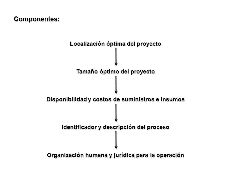 Componentes: Localización óptima del proyecto Tamaño óptimo del proyecto Disponibilidad y costos de suministros e insumos Identificador y descripción