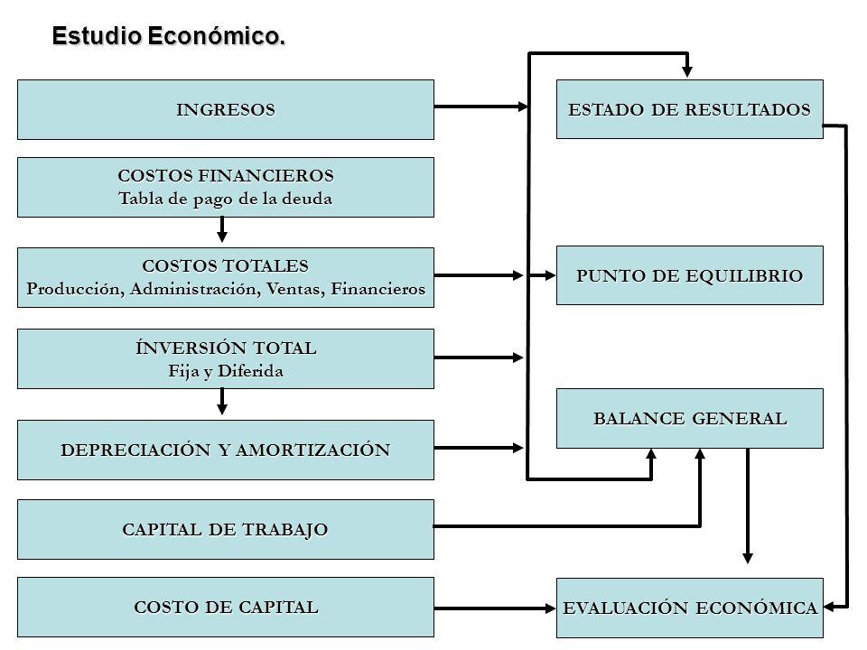 COSTOS TOTALES Producción, Administración, Ventas, Financieros Estudio Económico. COSTOS FINANCIEROS Tabla de pago de la deuda INGRESOS COSTO DE CAPIT