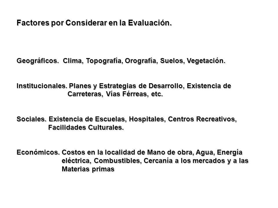 Factores por Considerar en la Evaluación. Geográficos. Clima, Topografía, Orografía, Suelos, Vegetación. Institucionales. Planes y Estrategias de Desa