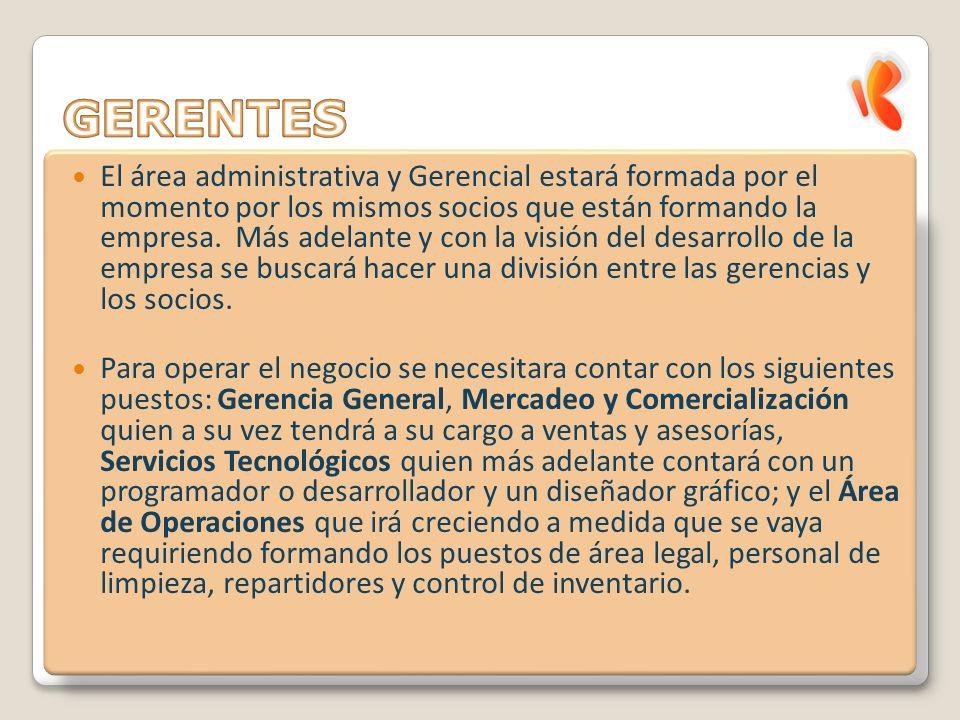El área administrativa y Gerencial estará formada por el momento por los mismos socios que están formando la empresa.