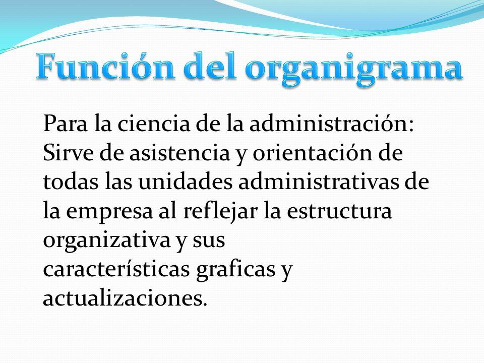 Para la ciencia de la administración: Sirve de asistencia y orientación de todas las unidades administrativas de la empresa al reflejar la estructura