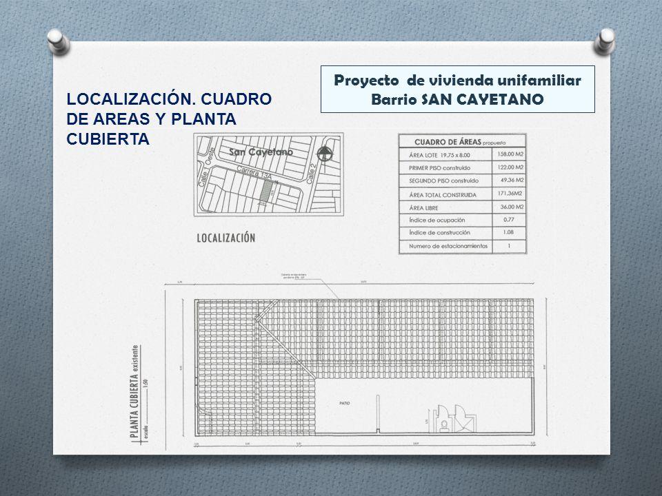 Proyecto de vivienda unifamiliar Barrio SAN CAYETANO LOCALIZACIÓN. CUADRO DE AREAS Y PLANTA CUBIERTA