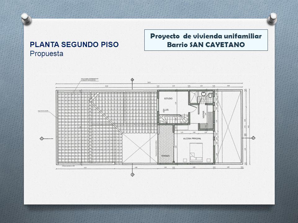 Proyecto de vivienda unifamiliar Barrio SAN CAYETANO PLANTA SEGUNDO PISO Propuesta