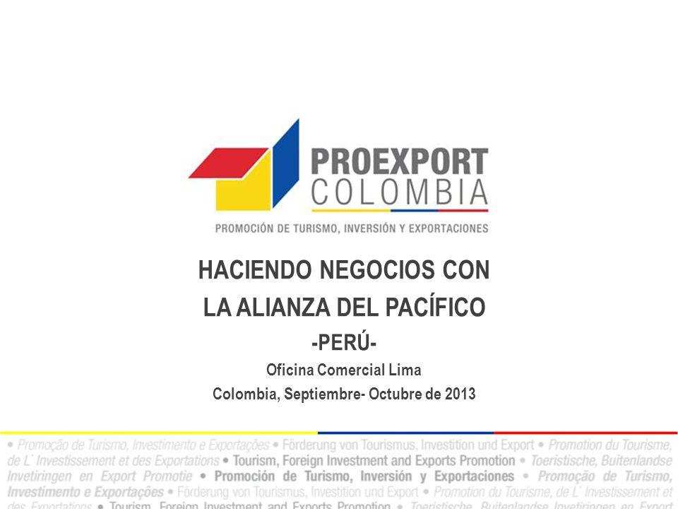 HACIENDO NEGOCIOS CON LA ALIANZA DEL PACÍFICO -PERÚ- Oficina Comercial Lima Colombia, Septiembre- Octubre de 2013