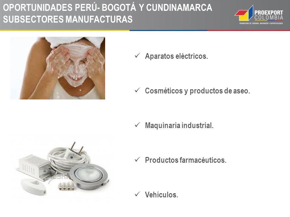 Aparatos eléctricos. Cosméticos y productos de aseo. Maquinaria industrial. Productos farmacéuticos. Vehículos. OPORTUNIDADES PERÚ- BOGOTÁ Y CUNDINAMA
