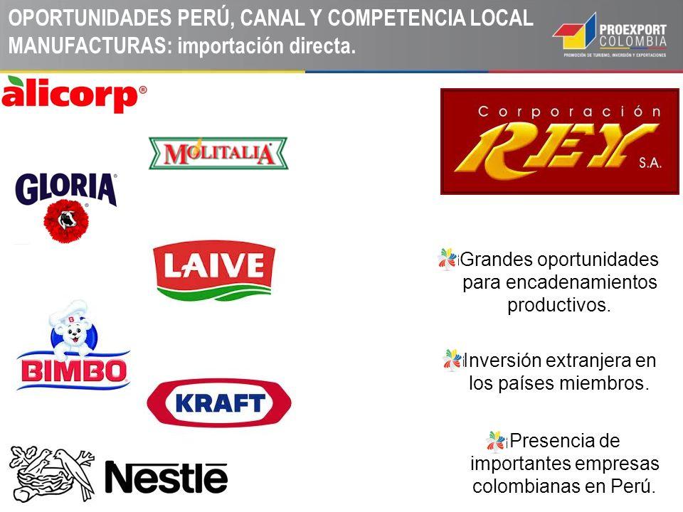 Grandes oportunidades para encadenamientos productivos. Inversión extranjera en los países miembros. Presencia de importantes empresas colombianas en