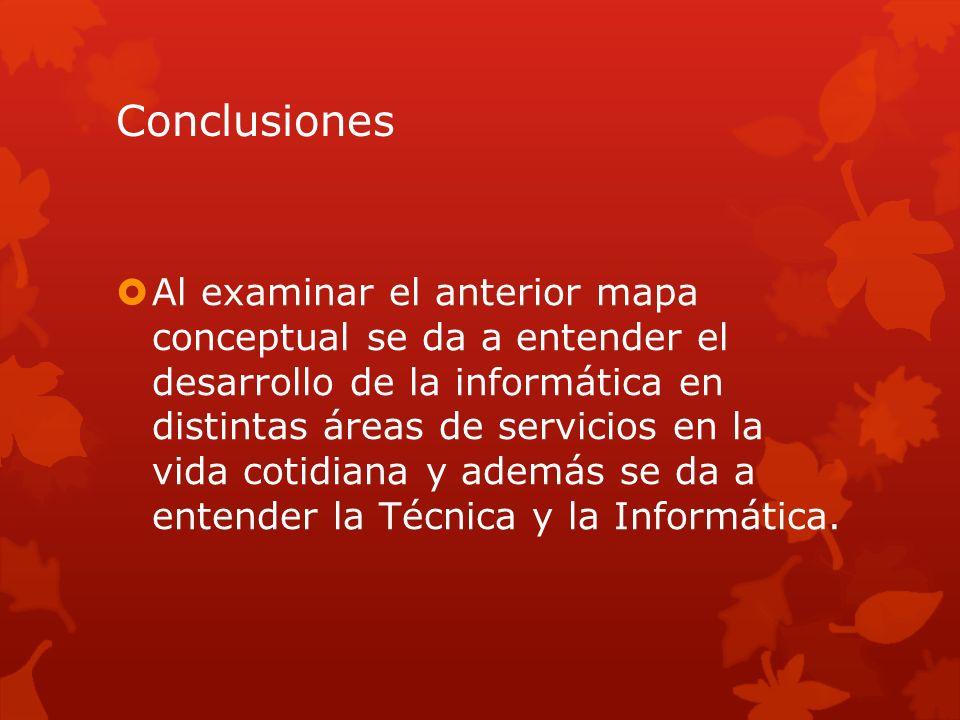 Conclusiones Al examinar el anterior mapa conceptual se da a entender el desarrollo de la informática en distintas áreas de servicios en la vida cotid
