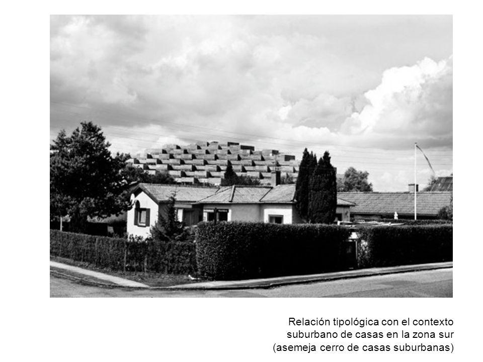 Relación tipológica con el contexto suburbano de casas en la zona sur (asemeja cerro de casas suburbanas)