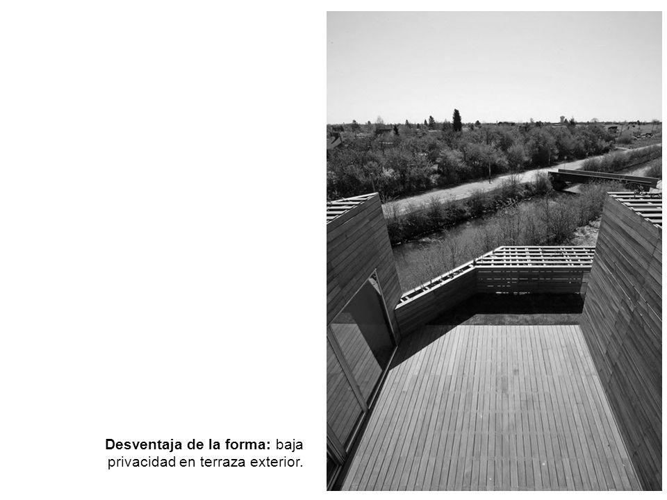 Desventaja de la forma: baja privacidad en terraza exterior.