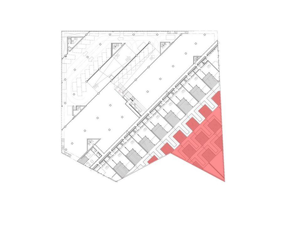 Ventaja de la forma: un espacio libre para terraza y jardín en cada departamento.