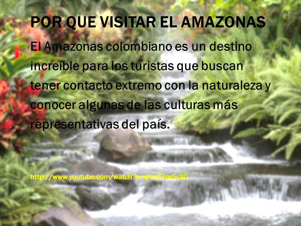 POR QUE VISITAR EL AMAZONAS El Amazonas colombiano es un destino increíble para los turistas que buscan tener contacto extremo con la naturaleza y con