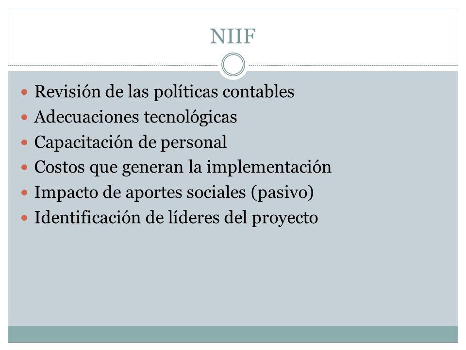 Revisión de las políticas contables Adecuaciones tecnológicas Capacitación de personal Costos que generan la implementación Impacto de aportes sociales (pasivo) Identificación de líderes del proyecto NIIF