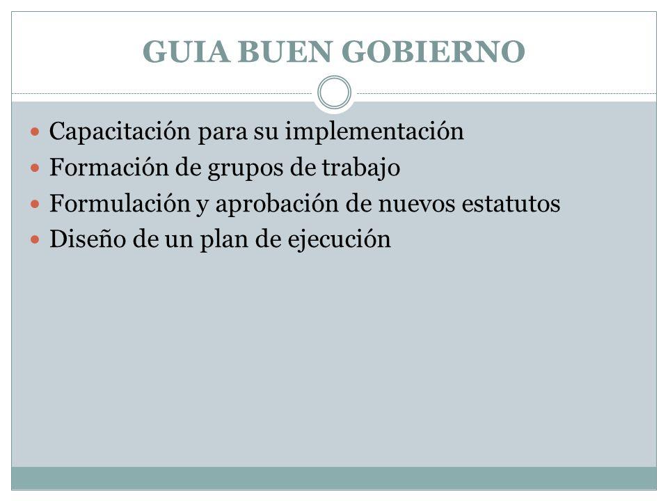 GUIA BUEN GOBIERNO Capacitación para su implementación Formación de grupos de trabajo Formulación y aprobación de nuevos estatutos Diseño de un plan de ejecución
