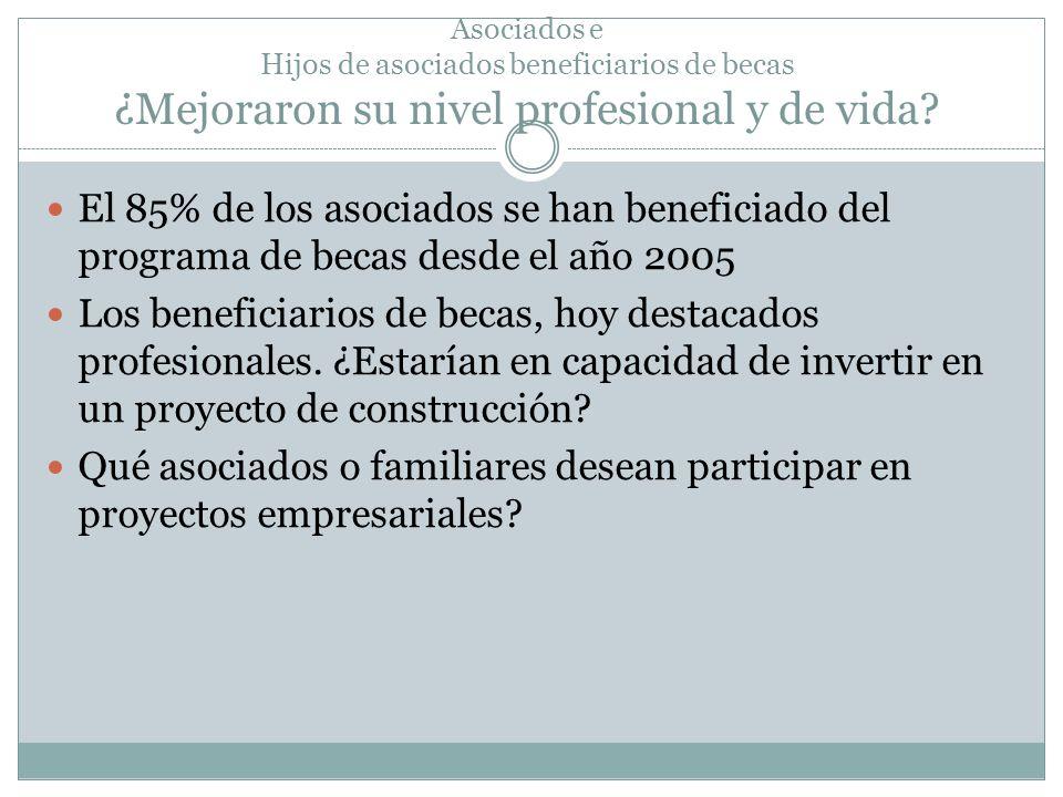 Asociados e Hijos de asociados beneficiarios de becas ¿Mejoraron su nivel profesional y de vida? El 85% de los asociados se han beneficiado del progra