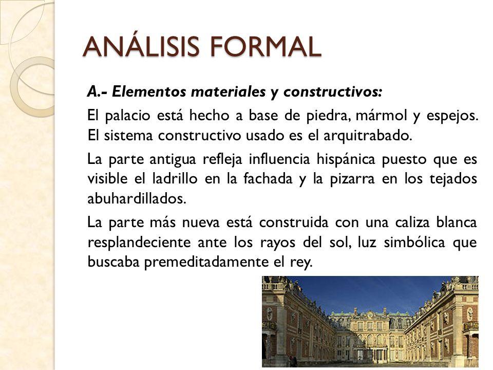 B.- Análisis y descripción de la planta: Versalles tiene forma en U, con tres patios consecutivos (1 – 3) y una ampliación en dos extensos brazos laterales con patios y habitaciones compartidas.