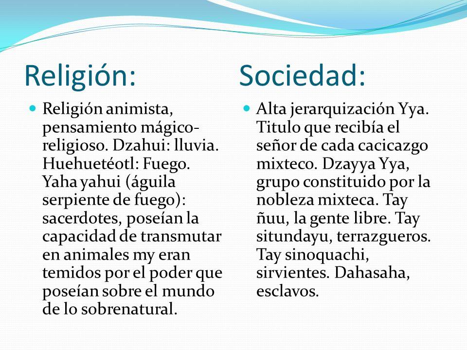 Religión: Sociedad: Religión animista, pensamiento mágico- religioso. Dzahui: lluvia. Huehuetéotl: Fuego. Yaha yahui (águila serpiente de fuego): sace