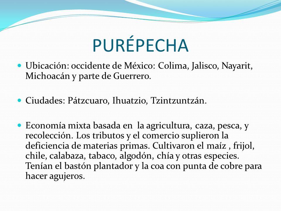 PURÉPECHA Ubicación: occidente de México: Colima, Jalisco, Nayarit, Michoacán y parte de Guerrero. Ciudades: Pátzcuaro, Ihuatzio, Tzintzuntzán. Econom