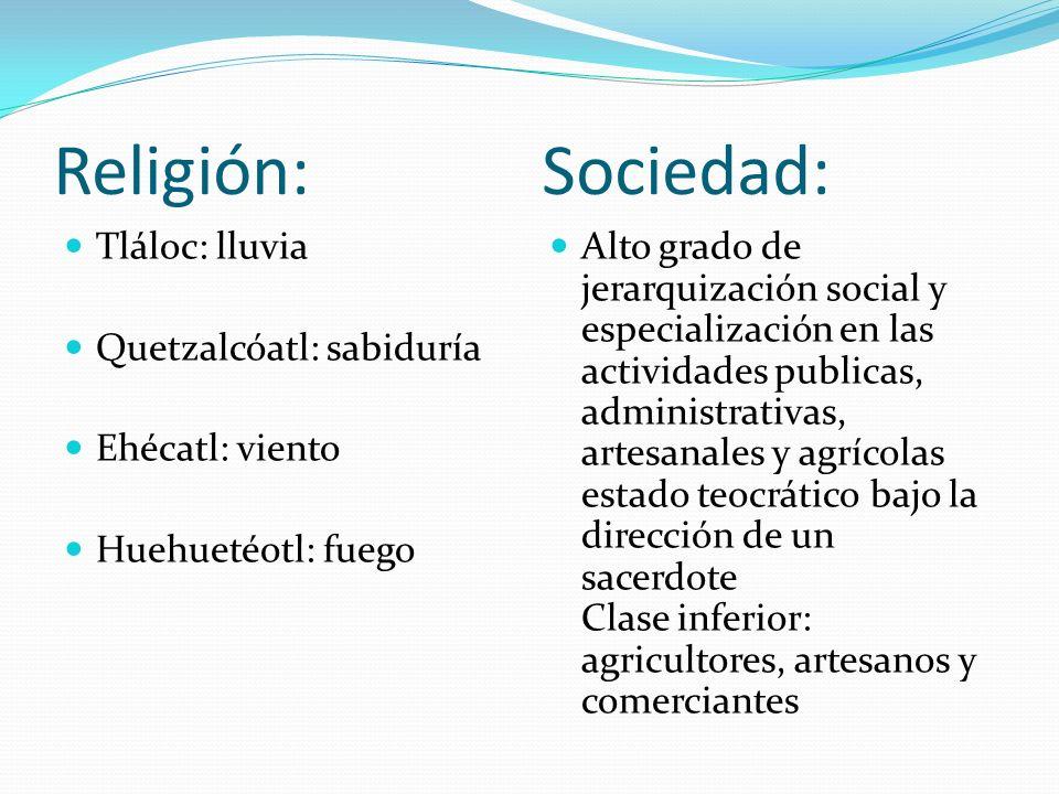 Religión: Sociedad: Tláloc: lluvia Quetzalcóatl: sabiduría Ehécatl: viento Huehuetéotl: fuego Alto grado de jerarquización social y especialización en