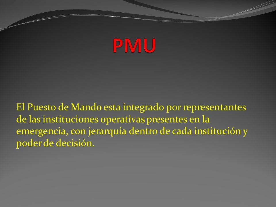 El Puesto de Mando esta integrado por representantes de las instituciones operativas presentes en la emergencia, con jerarquía dentro de cada instituc