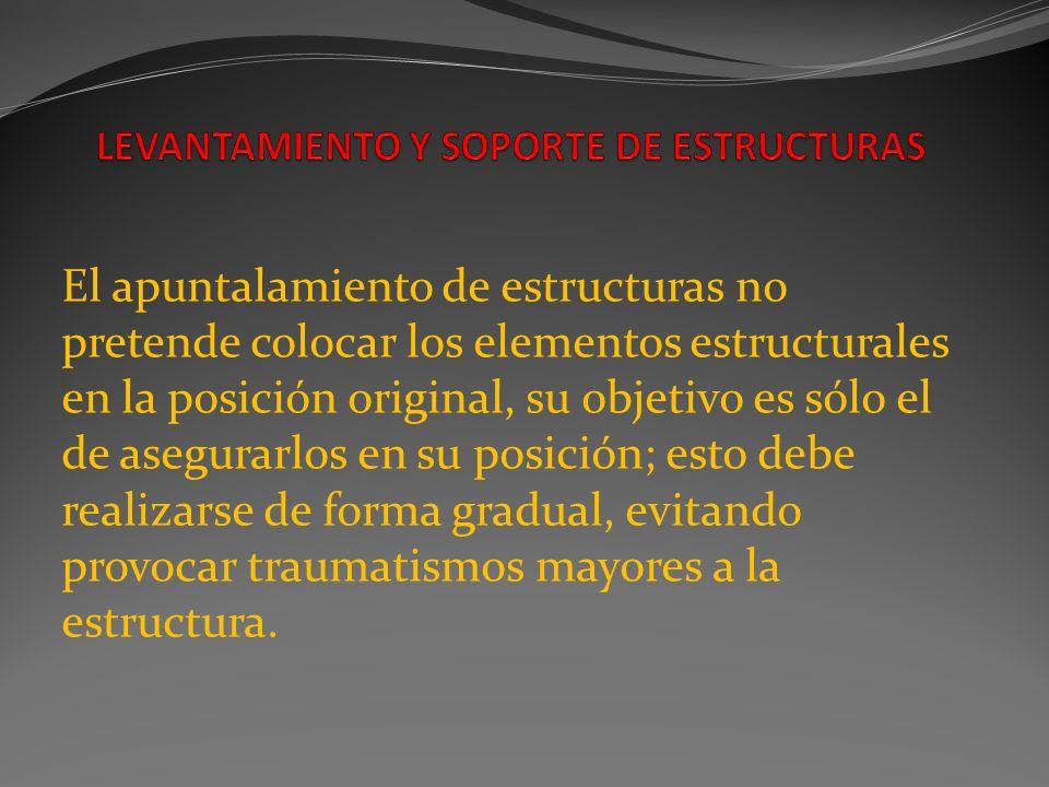 El apuntalamiento de estructuras no pretende colocar los elementos estructurales en la posición original, su objetivo es sólo el de asegurarlos en su