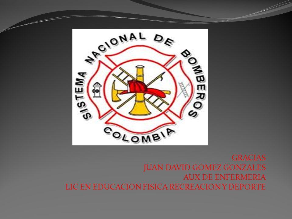GRACIAS JUAN DAVID GOMEZ GONZALES AUX DE ENFERMERIA LIC EN EDUCACION FISICA RECREACION Y DEPORTE