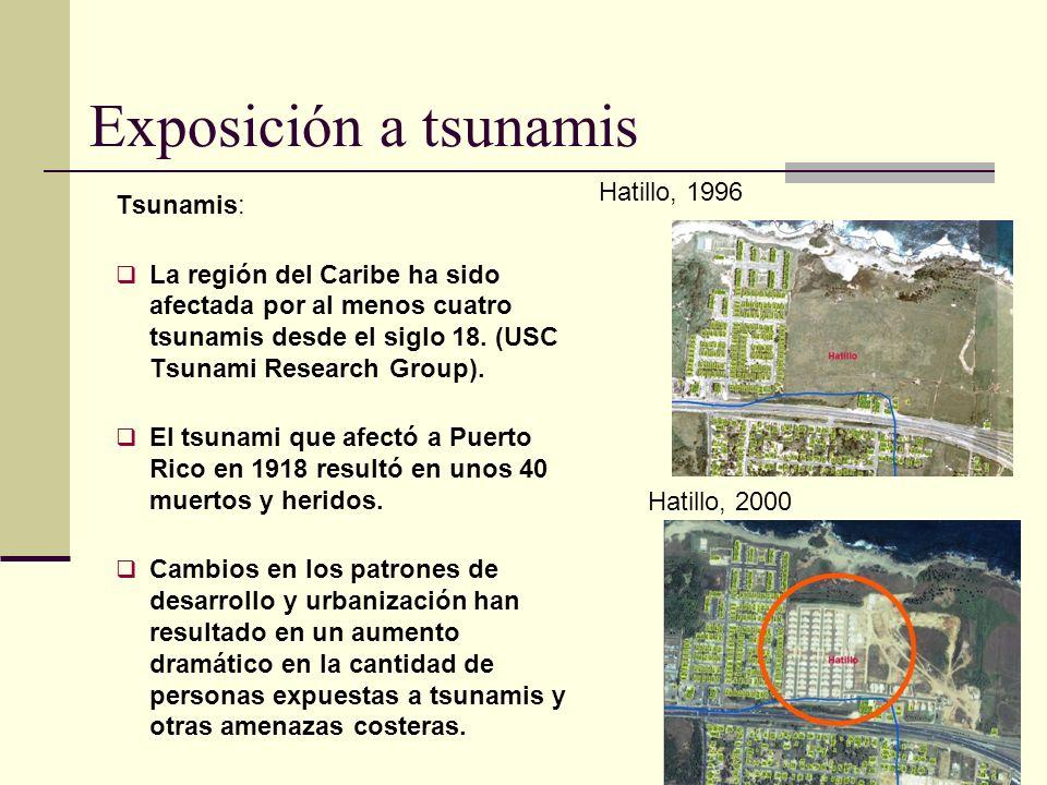 Tsunamis: La región del Caribe ha sido afectada por al menos cuatro tsunamis desde el siglo 18. (USC Tsunami Research Group). El tsunami que afectó a
