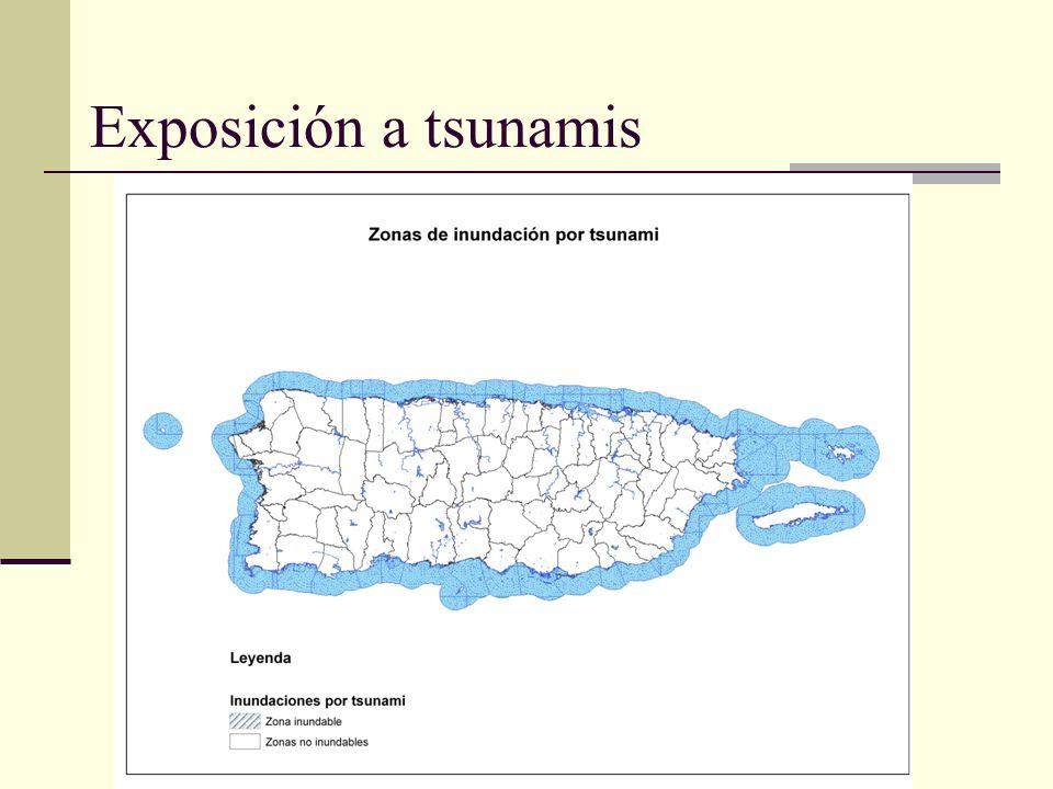Vulnerabilidad: 10 municipios con mayor población residente expuesta a inundación por tsunami Exposición a tsunami MunicipioPoblación expuesta %pob expuesta Vivienda expuesta % vivienda expuesta Mayagüez18,95019.25%7,50019.05% San Juan6,3081.45%3,8962.14% Arecibo5,5515.54%2,2735.83% Aguada4,79811.41%1,95412.53% Carolina4,5762.46%4,5136.33% Ponce3,6171.94%1,4162.13% Loíza3,34410.28%1,21211.09% Aguadilla2,8014.33%1,1914.79% Cabo Rojo2,4005.12%2,35810.17% Hatillo2,3898.43%9048.43%