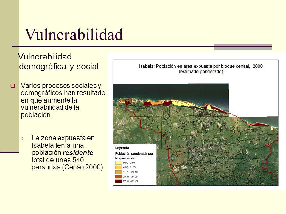 Vulnerabilidad demográfica y social Varios procesos sociales y demográficos han resultado en que aumente la vulnerabilidad de la población. La zona ex