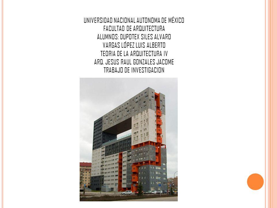 UNIVERSIDAD NACIONAL AUTONOMA DE MÉXICO FACULTAD DE ARQUITECTURA ALUMNOS: DUPOTEX SILES ALVARO VARGAS LÓPEZ LUIS ALBERTO TEORIA DE LA ARQUITECTURA IV ARQ.