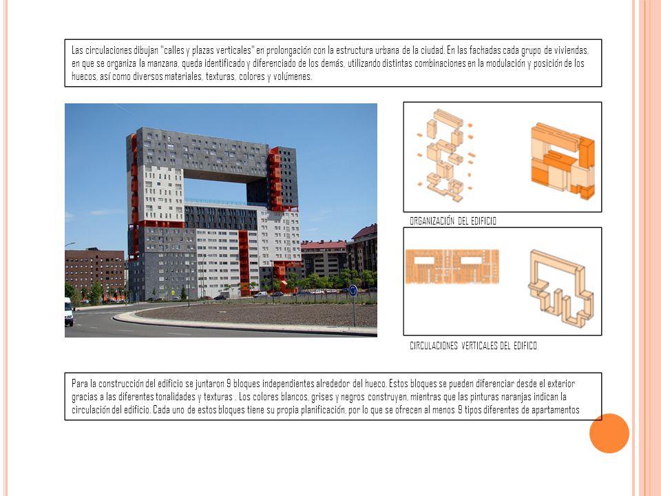 Las circulaciones dibujan calles y plazas verticales en prolongación con la estructura urbana de la ciudad.