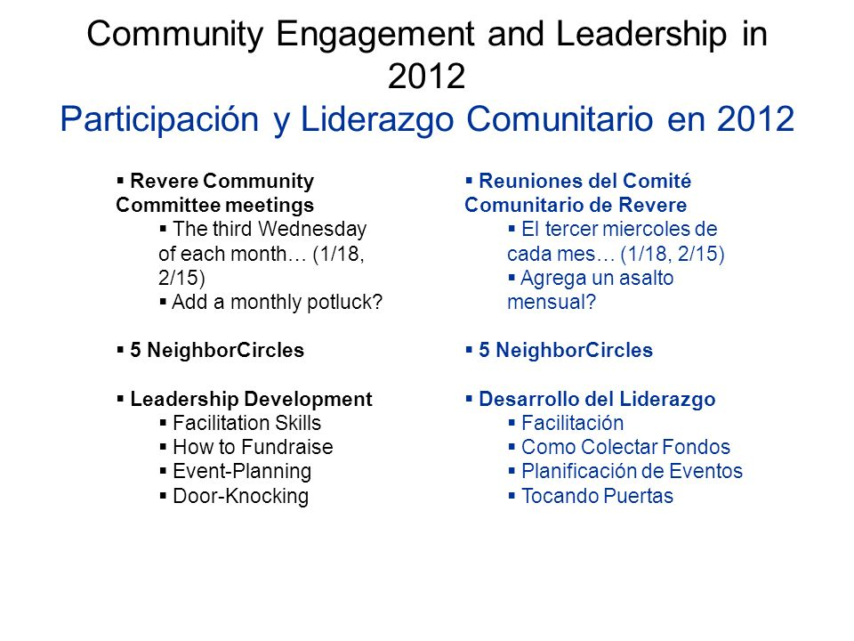 Community Engagement and Leadership in 2012 Participación y Liderazgo Comunitario en 2012 Revere Community Committee meetings The third Wednesday of each month… (1/18, 2/15) Add a monthly potluck.