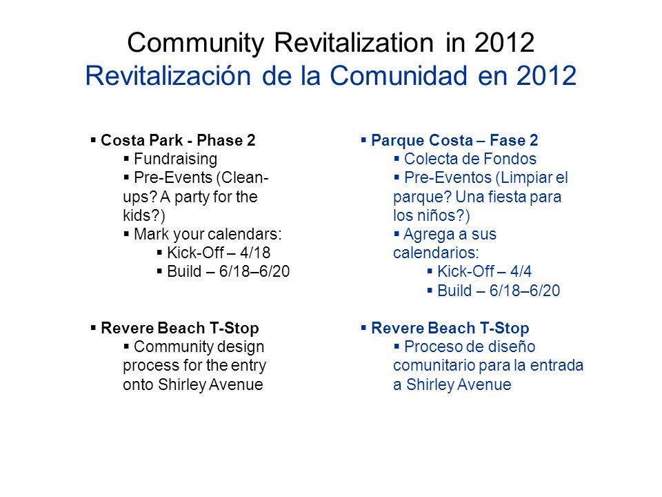 Community Revitalization in 2012 Revitalización de la Comunidad en 2012 Costa Park - Phase 2 Fundraising Pre-Events (Clean- ups.