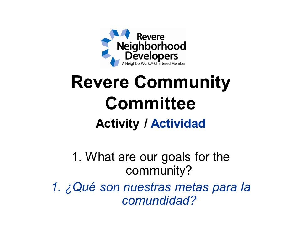 Revere Community Committee Activity / Actividad 1.