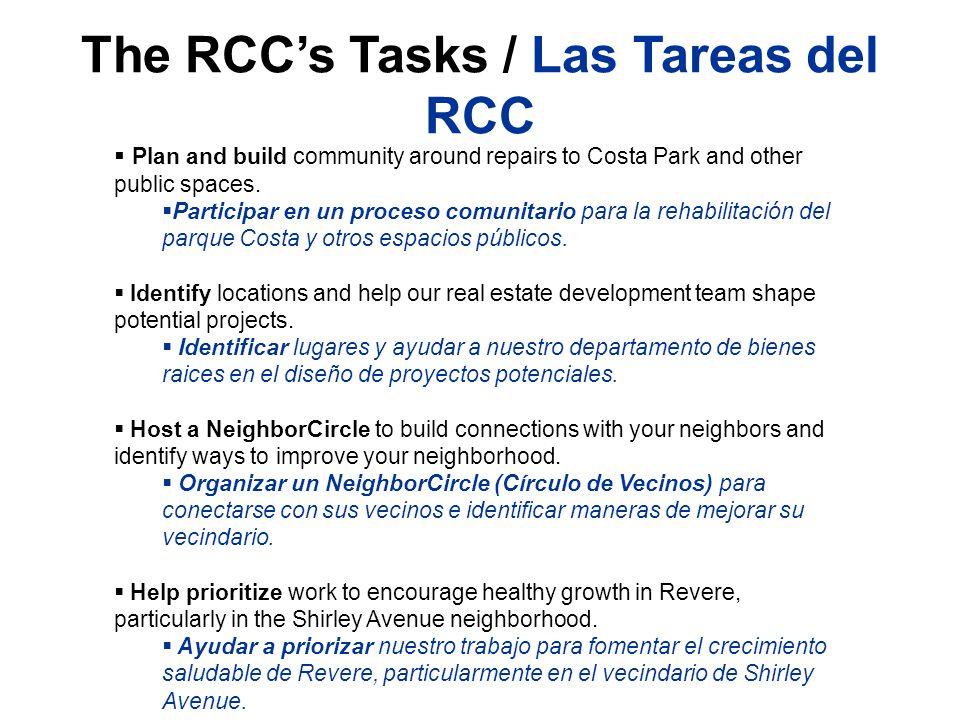 The RCCs Tasks / Las Tareas del RCC Plan and build community around repairs to Costa Park and other public spaces. Participar en un proceso comunitari