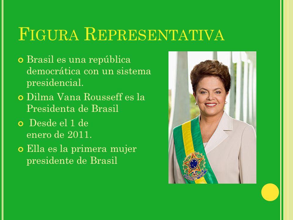 F IGURA R EPRESENTATIVA Brasil es una república democrática con un sistema presidencial. Dilma Vana Rousseff es la Presidenta de Brasil Desde el 1 de