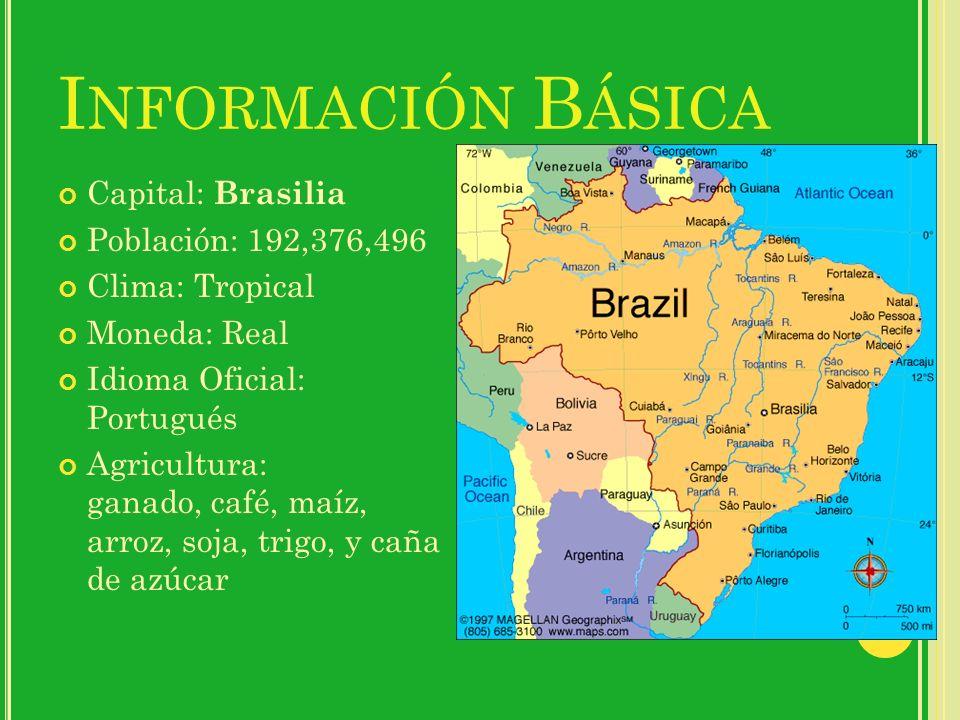 I NFORMACIÓN B ÁSICA Capital: Brasilia Población: 192,376,496 Clima: Tropical Moneda: Real Idioma Oficial: Portugués Agricultura: ganado, café, maíz,