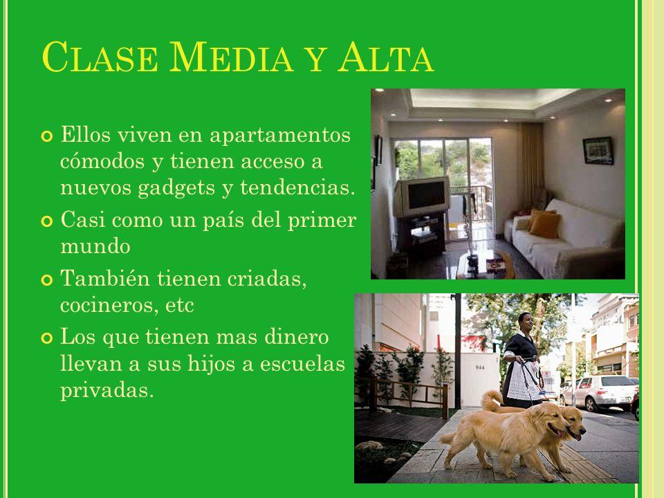 C LASE M EDIA Y A LTA Ellos viven en apartamentos cómodos y tienen acceso a nuevos gadgets y tendencias.