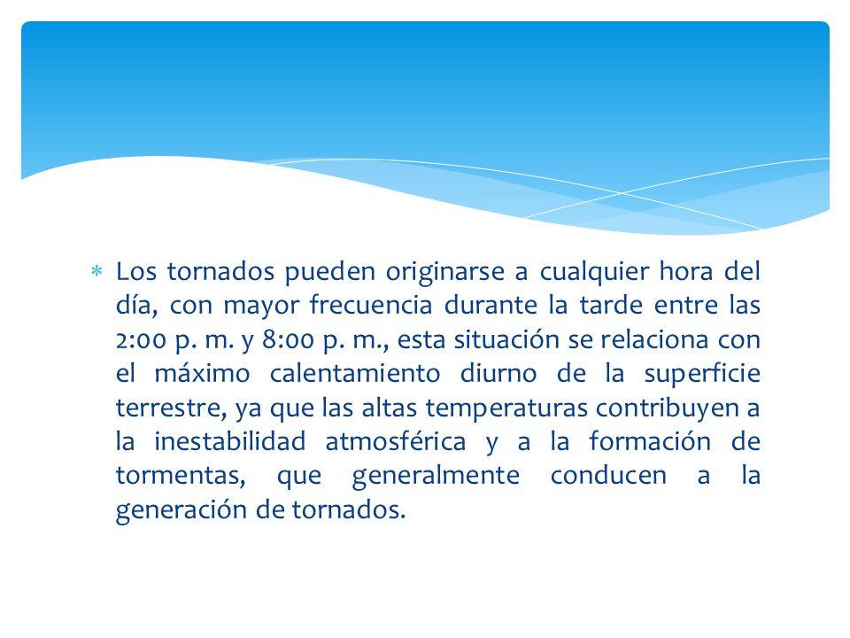 Los tornados pueden originarse a cualquier hora del día, con mayor frecuencia durante la tarde entre las 2:00 p. m. y 8:00 p. m., esta situación se re