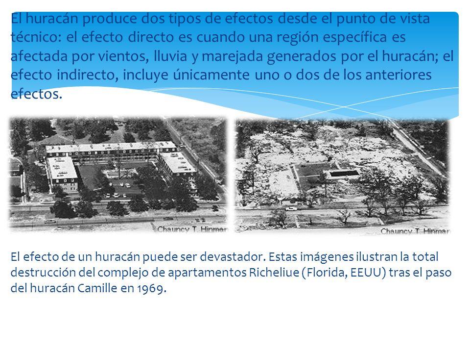 El huracán produce dos tipos de efectos desde el punto de vista técnico: el efecto directo es cuando una región específica es afectada por vientos, ll